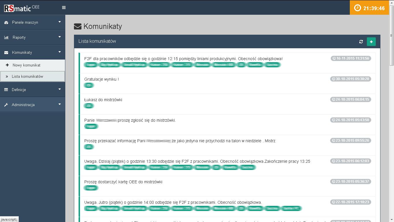 Komunikaty -lista wysłanych